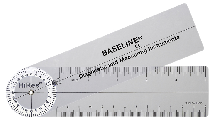 Baseline Plastic Goniometer Pocket Style HiRes 180 Degree Head 6 inch Arms 12 1006HR