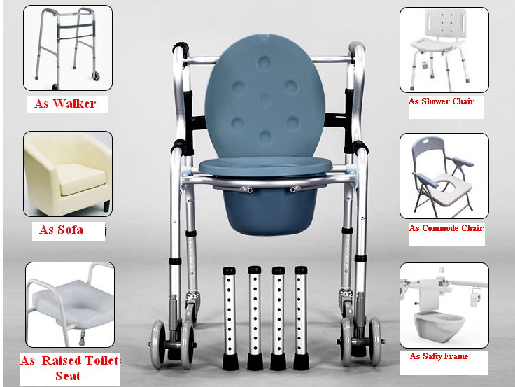 Commode Walker 6 In 1 Aluminum W Castors Hh517sn Commode